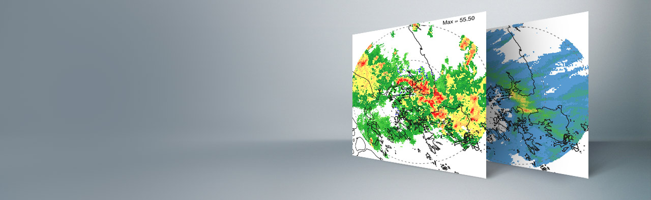 Radar reflectivity and derived rainfall