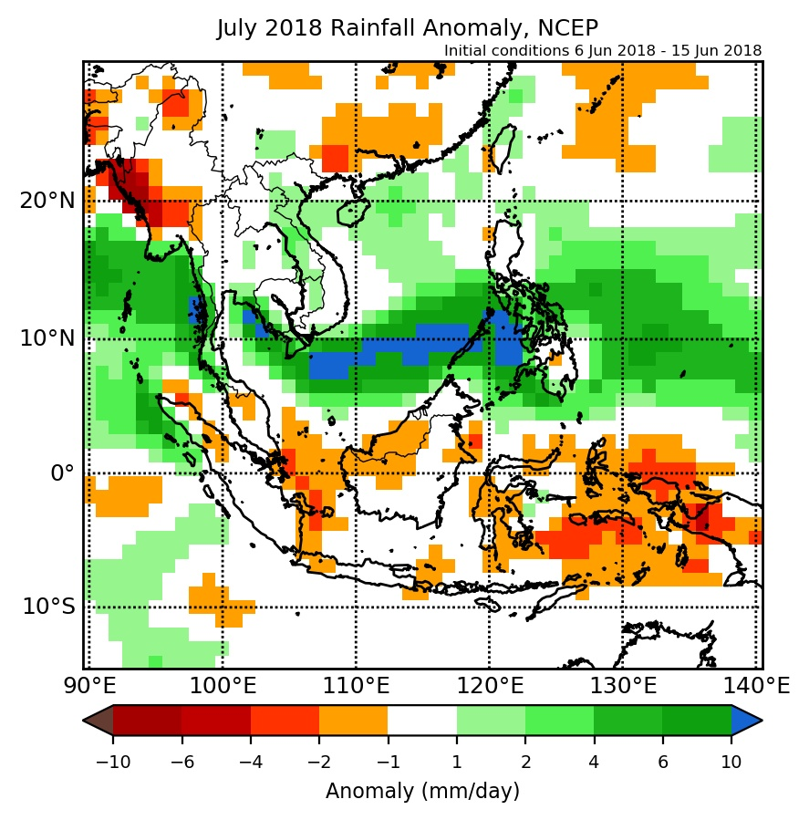 Rainfall anomaly of NCEP model for July 2018.
