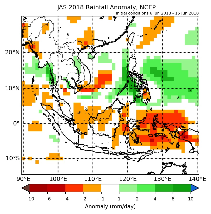 Rainfall anomaly of NCEP model for JAS 2018.