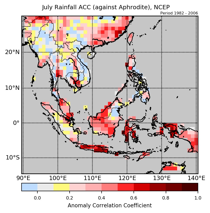 Anomaly Correlation Coefficient (ACC) of NCEP's rainfall forecasts against APHRODITE.