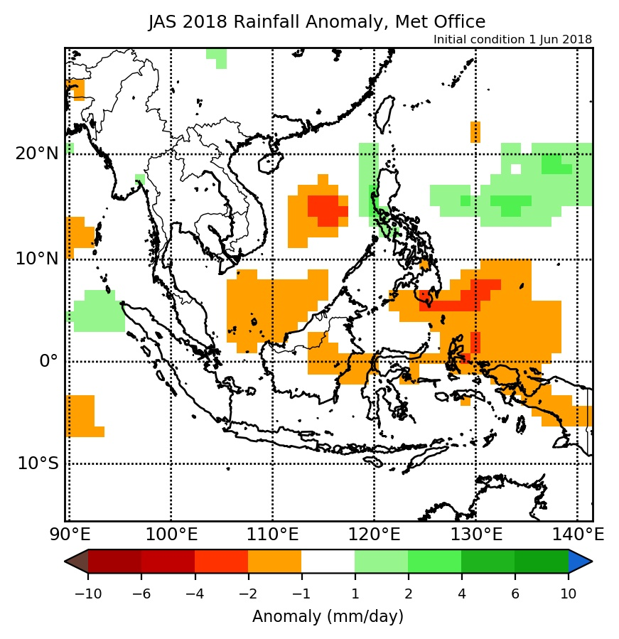 Rainfall anomaly of Met Office model for JAS 2018.